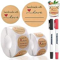 DZSEE® 800pz Etichette Autoadesivo Kraft, handmade with love, Etichetta Adesiva Fatta a Mano, Round etichette adesive…