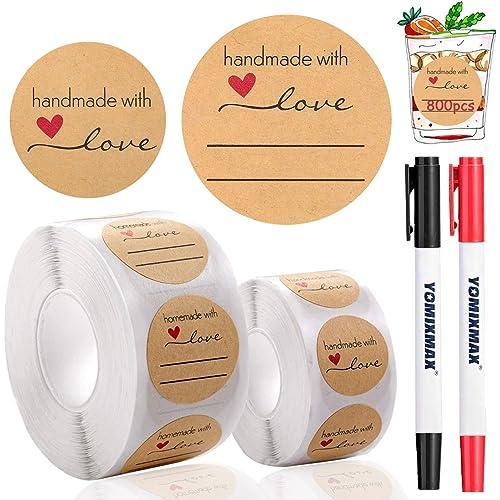 DZSEE® 800pz Etichette Autoadesivo Kraft, handmade with love, Etichetta Adesiva Fatta a Mano, Round etichette adesive Sticker, Personalizzati Rotondi Etichette per Compleanno, Matrimonio, Regalo Decor