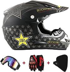 Motorradhelm Cross Helme Schutzhelm Motocross Helm für Motorrad Crossbike Off Road Enduro Sport mit Handschuhe Sturmmaske und Brille 58-59CM (Sterne Gelb)