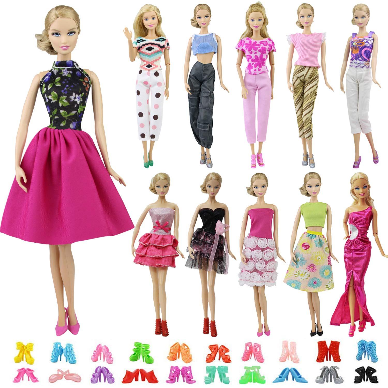best service f221a d2f61 ZITA ELEMENT 20 Pezzi = 10 Vestiti Abiti e 10 Scarpe per 28-30cm Bambola,  Camicia, Pantaloni Mescolare Vestito Abito Barbie e Accessorio Eleganti  Moda ...