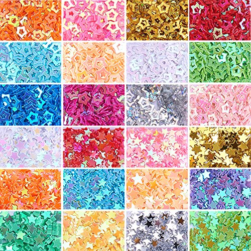 NBEADS 1 Set of Assorted Color Stars Confetti Glitter Star Sequins for Craft DIY Decoration, 1.7~3.7x1.7~3.7x0.2mm