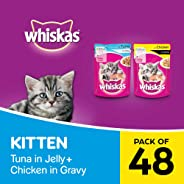 Whiskas Kitten Wet Cat Food Combo - Tuna in Jelly, 85g (24 Pouches) + Chicken in Gravy, 85g (24 Pouches)