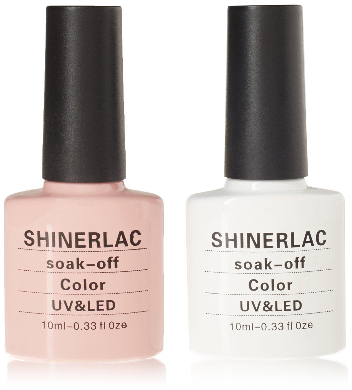 Shinerlac Esmalte de gel para manicura francesa, secado con lámpara UV o LED, número 80523y 80526,10ml