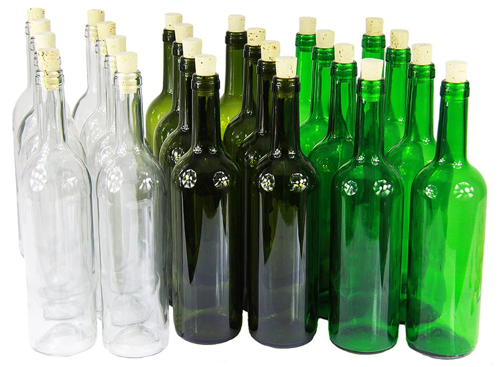 Weinflasche 750 ml ohne/mit Korken Glasflasche Leere Flasche Likör Wein 3 Farben (8 STK. mit Korken, Grün)