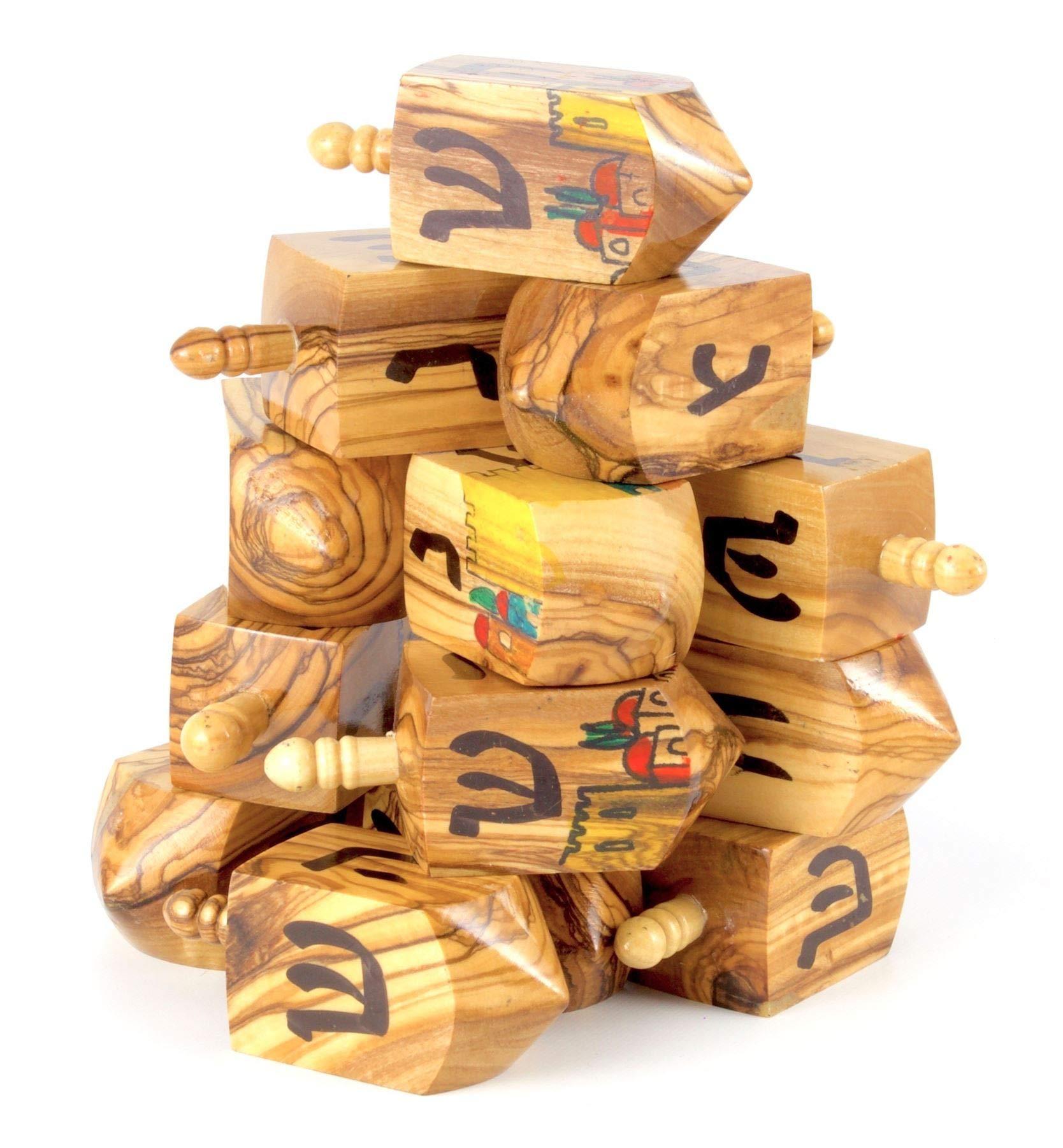 Rimmon-Judaica-1-Handgemachter-Chanukka-Dreidel-aus-Olivenholz