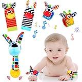 Tibroni 5 Pezzi Baby Rattle Neonato Sonagli Calzini Polso,Simpatici Animaletti Developmental Toys,Giocattoli per Neonati Adat