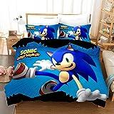 DCWE Juego de ropa de cama compuesto por funda nórdica y funda de almohada, impresión 3D Sonic Anime Digital Print, microfibr