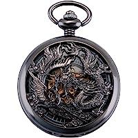 ManChDa Antique Mécanique Montre de Poche Chanceux Dragon & Phoenix voeux Cadran Squelette avec chaîne pour Les Hommes…