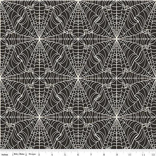 Halloween Stoff–Fledermäuse creme Halloween–rbf630–0,5m–von Riley Blake 100% Baumwolle Spiders Webs Halloween RBF632