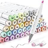 Ohuhu Rotulador con 48 colores pastel, punta de doble cara, rotulador grueso para diseños y cómics, pincel fino para bocetos,