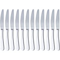 AmazonBasics Stainless Steel Dinner Knives with Round Edge, Pack of 12
