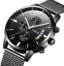 Armbanduhr, Herren Uhren, Edelstahl schwarz klassischen Luxus Business Casual Uhren mit Kalender Wasserdicht Multifunktional Quarz Milanaise Mesh Band Armbanduhr für Herren