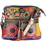 Segater® Damen Mehrfarbige Umhängetasche mit Blumenmuster, Mode Rindsleder Handtasche Schlangenmuster Design Leder-Umhängetas