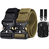 2 Pack Men Tactical Belt 1.5 Inch Heavy Duty Belt, BESTKEE Nylon Military Belt with Quick-Release Metal Buckle, Gift with Tac