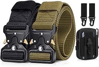 BESTKEE Cintura tattica da uomo da 1,5 pollici ad alte prestazioni, cintura in nylon con fibbia in metallo a sgancio rapido, regalo con sacchetto Molle tattico e gancio