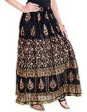 Rangsthali Women's Cotton Gold Printed Long Skirt (Black_Free Size)