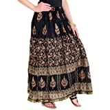Rangsthali Women's Cotton/Rayon Gold Printed Long Skirt A Line/Straight Skirt (Black_Free Size) Length-38 Inches X Waist size