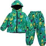 LZH Impermeable Chubasquero para Niño o Niñas, Dinosaurio Capa de Lluvia de Dibujos Animados con Capucha Chaqueta Pantalones