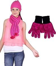 Gajraj Pink Women's Beanie Woolen Cap, Muffler And Gloves Set (M11-82_Free Size)