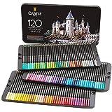 Castle Art Supplies Set med 120 färgpennor för vuxna, konstnärer, professionella tecknare | Med mjuka pennor för blending, sk
