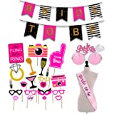 Party Propz 18Pcs Bride to be Props+ 1 Banner + 1 Sash+ 1 Bride to be Eyeglass / Bride To Be Sash And Props / Bride To Be Pro