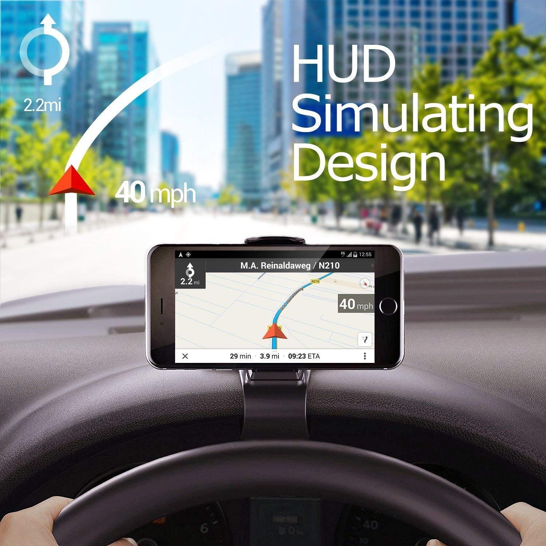 Supporto Universale per cruscotto per Auto Design HUD Supporto per Telefono Cellulare Antiscivolo Supporto per Telefono Cellulare Culla per iOS Android Siikii Supporto per Auto Black-7
