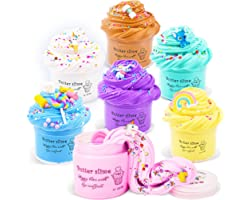 Appoft Soft and Non Sticky Fluffy Putty Slime Kits with Unicorn Candy Rainbow Charms DIY Butter Slime Crafts Set for Kids - B
