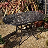 Aluminium Gartensitzgruppe Gartenmöbel Set Elise 136 x 81cm Ovale Aluguss Gartengarnitur- 1 ELISE Tisch + 4 ROSE Stühle