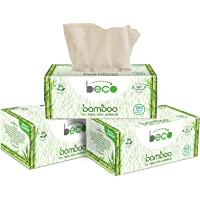 Eco Friendly - Beco Bamboo Natural Tissue Carbox - 200 Pulls Per Pack (Pack of 3) Organic Bamboo Facial Tissue Paper Box…