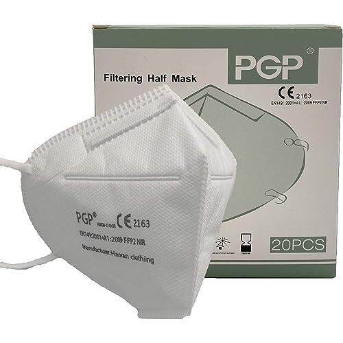 PGP Mascherina KN95 / FFP2 Maschere Facciali Monouso con Passanti per le Orecchie, Filtrazione Multistrato al 96%, Taglia Unica, Confezione da 20 Pezzi CERTIFICATE CE