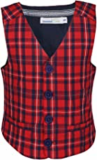 Shoppertree Red Checked Waist Coat