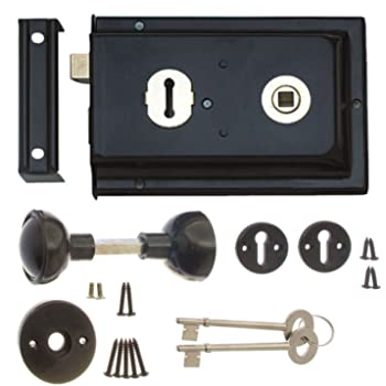2 Keys Oval Rim Knob Set with Door Sashlock 150 x 100mm Brass Chrome or Satin