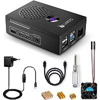 LABISTS Raspberry Pi 4 Boitier, 5,1V 3A Alimentation Interrupteur Marche/Arrêt, Ventilateur, Câble Micro HDMI, 3 Dissipateurs en Cuivre, Boîtier pour Pi 4 Compatible avec Pi Caméra