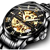 Mens Watch Mechanical Stainless Steel Skeleton Waterproof Automatic Self-Winding Roman Numerals Diamond Dial Wrist Watch