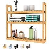 Domax Bamboo Bathroom Shelf 3-Tier Wall Mount Storage Rack Multifunctional Adjustable Layer Free Standing Over Toilet Utility