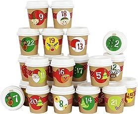 Papierdrachen DIY Adventskalender Kaffee Becher - zum selber Basteln und Befüllen - mit goldenem Washi Tape - 24 Coffee to Go Cups - Design Set 116
