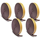 Chias Combo of 5 Piece D Shaped (Brown) Self-Adhesive Epdm Doors and Windows Foam Seal Strip Rubber Weatherstrip 5 Meter (2 X