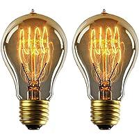 YUNLIGHTS E27 Edison Light Bulbs 40W Dimmable Decorative Vintage Light Bulbs E27 A19 220-240V 140lm 2500-2700K Warm White e27 Screw Bulb - 2 Pack [Energy Class A+]