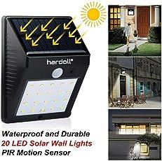 Hardoll Solar Light 20 LED Lights for Home Outdoor Wireless Motion Sensor Wall Lamp