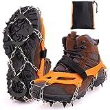 MIZOMOR Crampones Nieve Hielo Crampones Ligeros Racos de Hielo Tracción Antideslizante Más de Zapatos con 8 Dientes de Acero