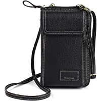 MOCA Women's Faux Leather Pocket Wallet Hand Purse Clutch Crossbody Sling Bag with Mobile Cell Phone wallet (Black)