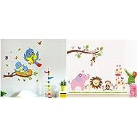 Decals Design 'Happy Birds Family' Wall Decal (PVC Vinyl, 60 cm x 45 cm x 60 cm, Multicolour) & 'Baby Cartoon Animal…