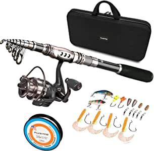 Lixada Telescopic Fishing Rod and Reel Combos Full Kit, Spinning Fishing Gear Organizer Pole Sets with Line Lures Hooks Reel and Fishing Carrier Bag