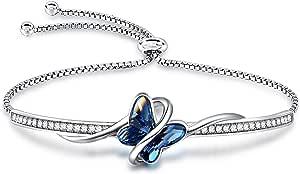 GEORGE · SMITH Bracciale in argento da donna, regolabile, Bracciale a farfalla con 5A Cubic Zirconia - Bracciale regalo per mamma Donna Festa della mamma Compleanno Anniversario