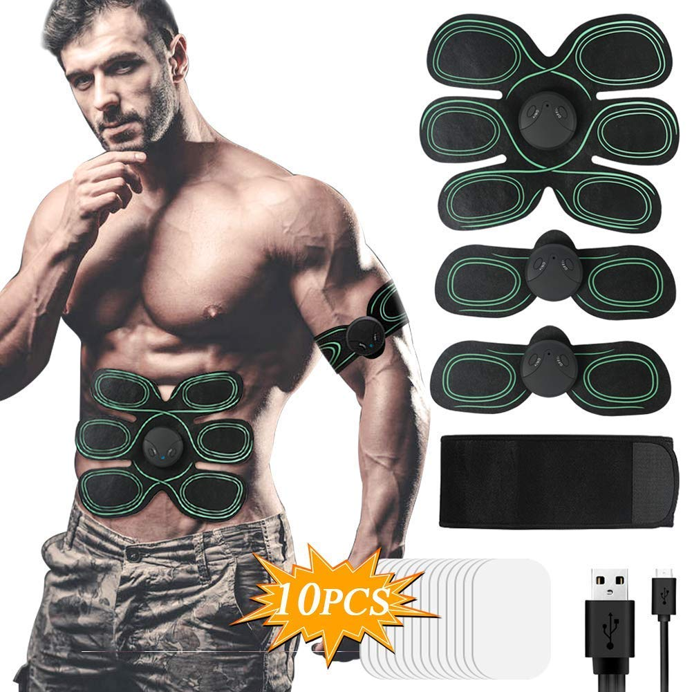 Hieha Electroestimulador Muscular, Abdominales ABS Estimulador Muscular, 6 Modos & 10 Niveles Eléctrico Cinturón Ejercitador para Abdomen/Brazos/Piernas/Cintura Hombre y Mujer
