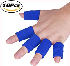 Futurekart 10 Pcs Finger Support, Sleeve, Protector with Soft Comfortable Cushion Pressure, Safe, Elastic, Breathable for Basketball, Volleyball, Baseball, Badminton,Tennis, Boating, Running, Weightlifting, Gym, Fitness, Exercise, Table Tennis, Cycling for Men and Women(Blue)