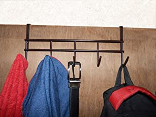 Bnospace-Bnoshopperz 5 Hook Over The Door Hanger, Durable & Strong Hanging Organizer Rack For Clothes (Brown)