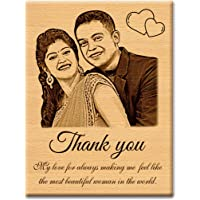 Incredible Gifts India Personalized Wooden Plaque Thankyou Gift for Wife (5x4 inches, Wood, Brown)