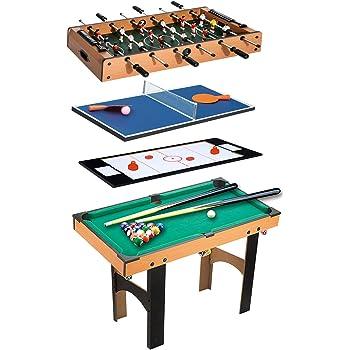 Homcom Table Multi Jeux 4 en 1 babyfoot Billard air Hockey ping-Pong avec  Accessoires MDF Bois 87 x 43 x 73 cm 19902e944024