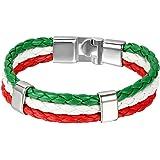 JewelryWe Gioielli Bracciale Intrecciato da Uomo Donna, Disegno Bandiera Italia/Spagna/Germania, Regalo